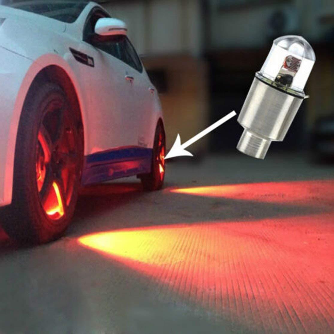 Candybarbar 4X Car Auto SUV Ruota Pneumatico Pneumatico Valvola Aria Stelo Tappi Luminosi a LED Accessori per la Copertura Ruota per Motocicletta a LED Lampada a Raggi di Luce a LED