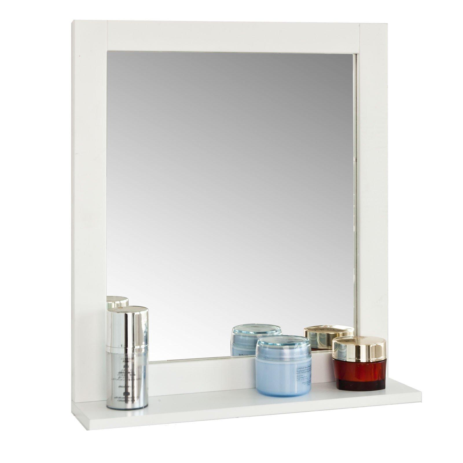 Haotian Wall Mounted Bathroom Mirror with Shelf, 40 x 49 x 10cm,FRG129-W,White