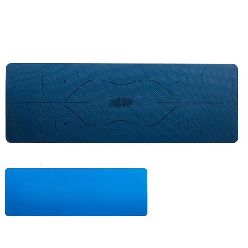 ヨガマットロングロング滑り止めフィットネスマットTpe無香料ボディライン初心者ヨガマット (色 : Dark blue)  Dark blue B07QTY71S2