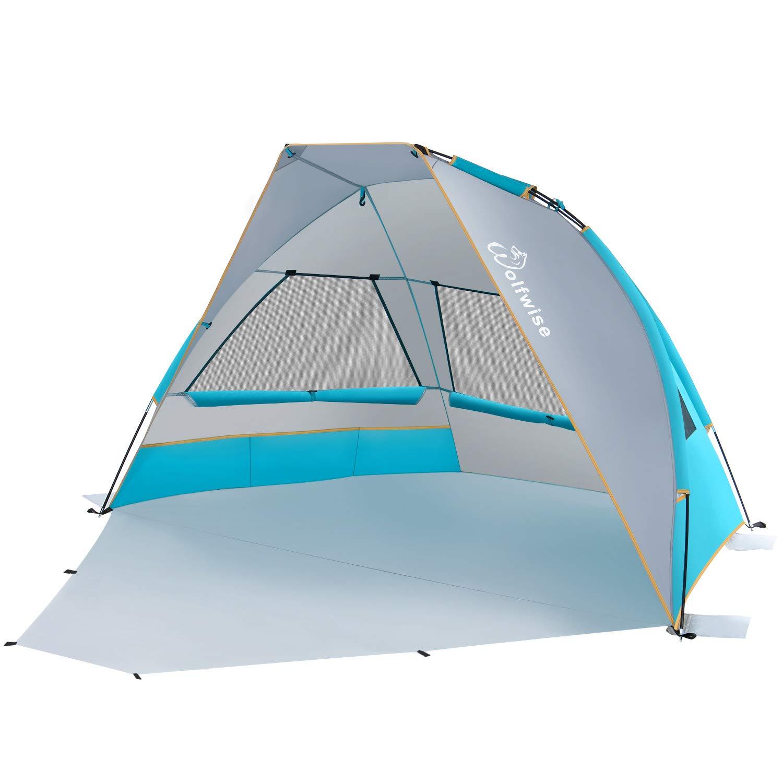 WolfWise UPF 50+ Portable Beach Canopy Tent Sun Shade Umbrella with Extendable Floor