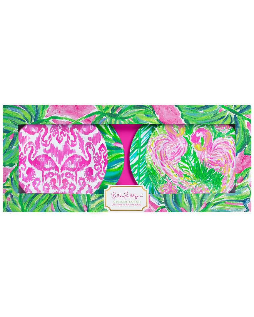 Lilly Pulitzer Painted Palm Set Of 4 Appetizer Plates