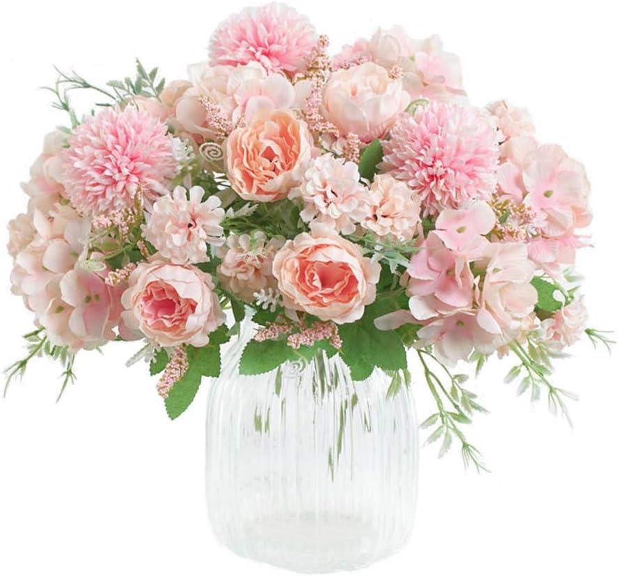 KIRIFLY Artificial Flowers, Fake Peony Silk Hydrangea Bouquet Decor Plastic Carnations Realistic Flower Arrangements Wedding Decoration Table Centerpieces 2 Packs (Pink)