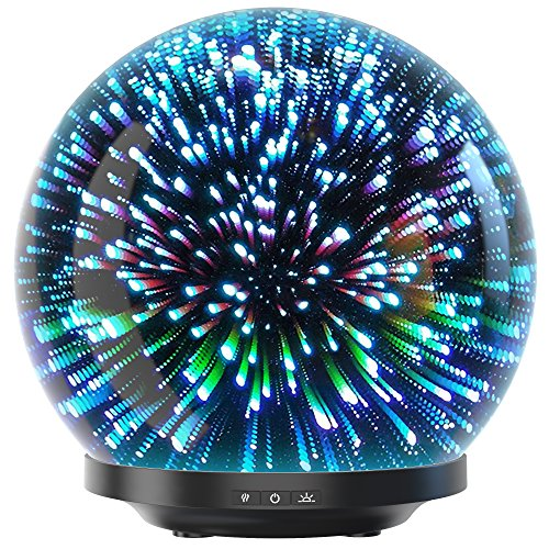 Essential Oil Diffuser - 3D Glass 200ml Galaxy Premium Ultrasonic Aromatherapy Oils Humidifier With Amazing LED Lights, Handy Auto Shut-Off Function & Large Water Tank