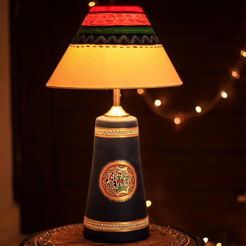 Unravel India Terracotta handpainted warli blue Table Lamp