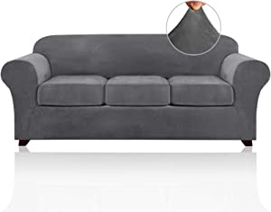 4 Pieces Sofa Covers Stretch Velvet Couch Covers for 3 Cushion Sofa Slipcovers Thick Soft Sofa Slip Covers with 2 Non Slip Straps Furniture Covers with 3 Individual Seat Cushion Covers (Large, Grey)