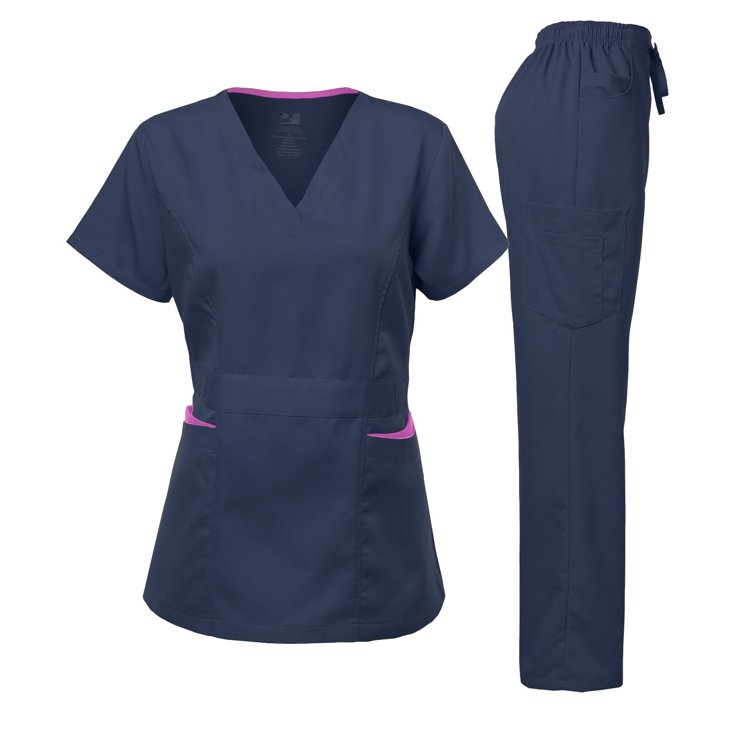 Medical Uniform Women's Scrubs Set Stretch Contrast Pocket Navy M