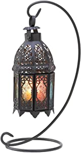 Gifts & Decor Rainbow Moroccan Ornate Candle Holder Lantern Stand