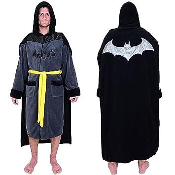DC Comics Batman Mens Fleece Bathrobe & Swim Suit Cover Up with Cape