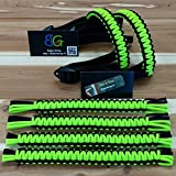 Reversible Paracord Jeep Wrangler Grab Handles - Black & Lime Green - Pick your pairs