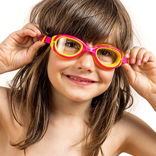 Kids Swimming Goggles ~ Swim Goggles for Kids (Age 2-12) || Hypoallergenic Soft Silicone || Anti Fog Lenses || UV Protection || for Children Girls Boys (Blue and Yellow - Review Purple Optics
