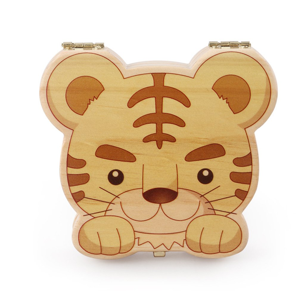 Anbaby Cute Personality Baby Teeth Box Save Wooden Boxes Deciduous Souvenir Box (Tiger1)