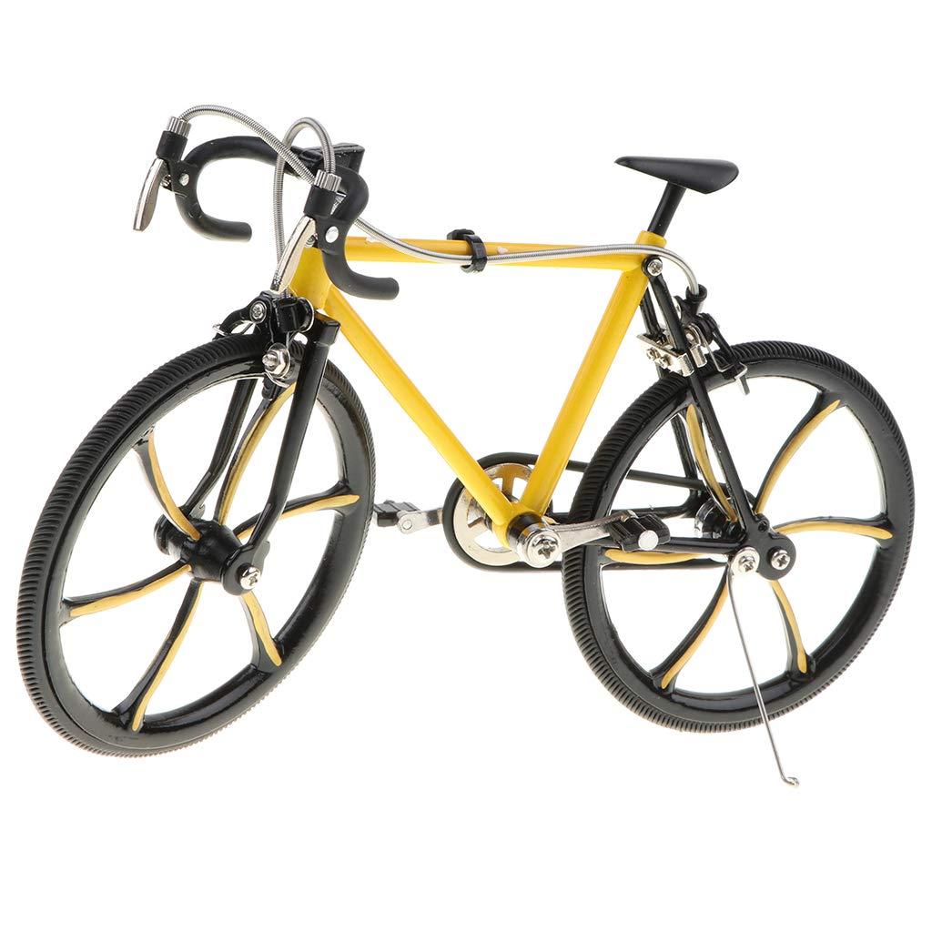 Fenteer 1/10 Handgemachte Miniatur Fahrrad Rennrad Mountainbike Modell aus Legierung Ornament Tischdeko Geschenke - B - Lila