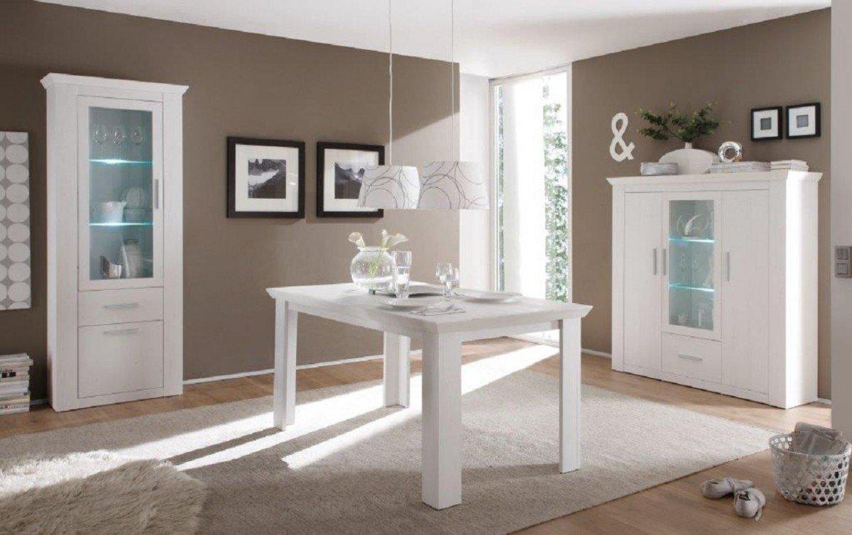 ... Esstisch, Ohne Stühle, Esszimmer, Küche, Wohnzimmer, Aufbewahrung, LED  Beleuchtung, Modern, In Pinie Weiß, Holznachbildung, Beleuchtung:mit  Beleuchtung
