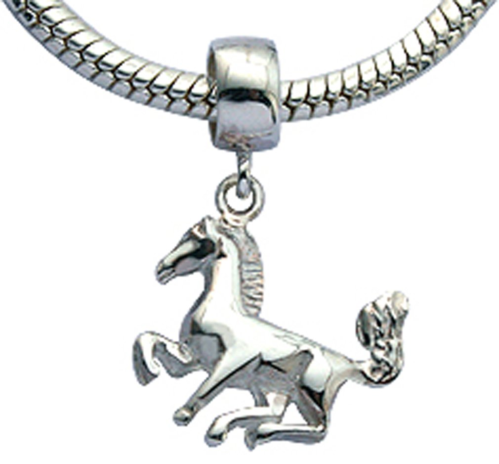 Silver horse charm - fits all type of charm bracelets & necklaces - various colors