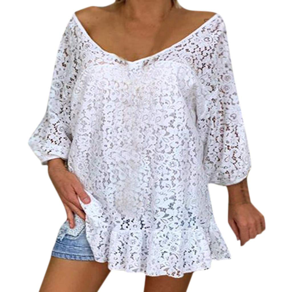 〓COOlCCI〓Women's White Lace Long Sleeve Shirt Blouse Top with Bell Sleeves Casual Loose Tunic Tops T-Shirts Tees by COOlCCI_Womens Clothing