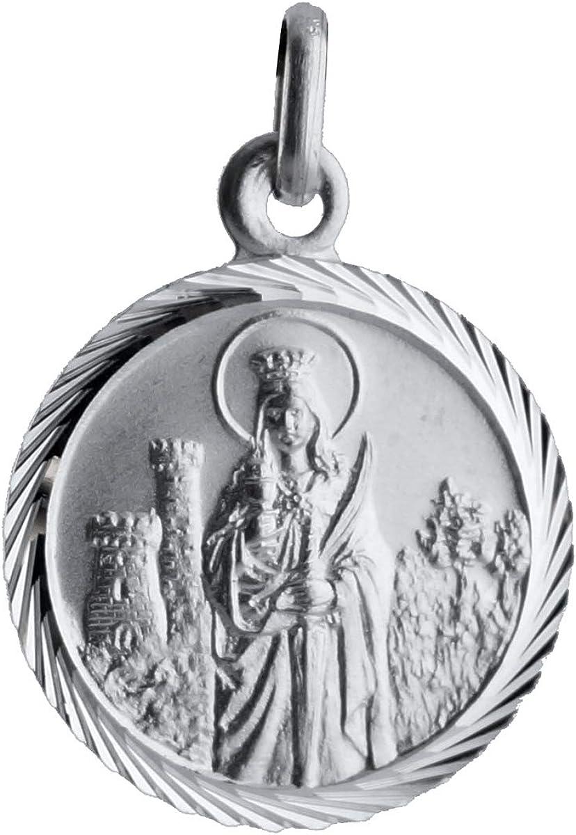 SACRE COEUR - Medalla de Santa Bárbara | Plata Primera Ley | Patrona de los mineros y la artillería | Acabado con Bisel Estriado: Amazon.es: Joyería