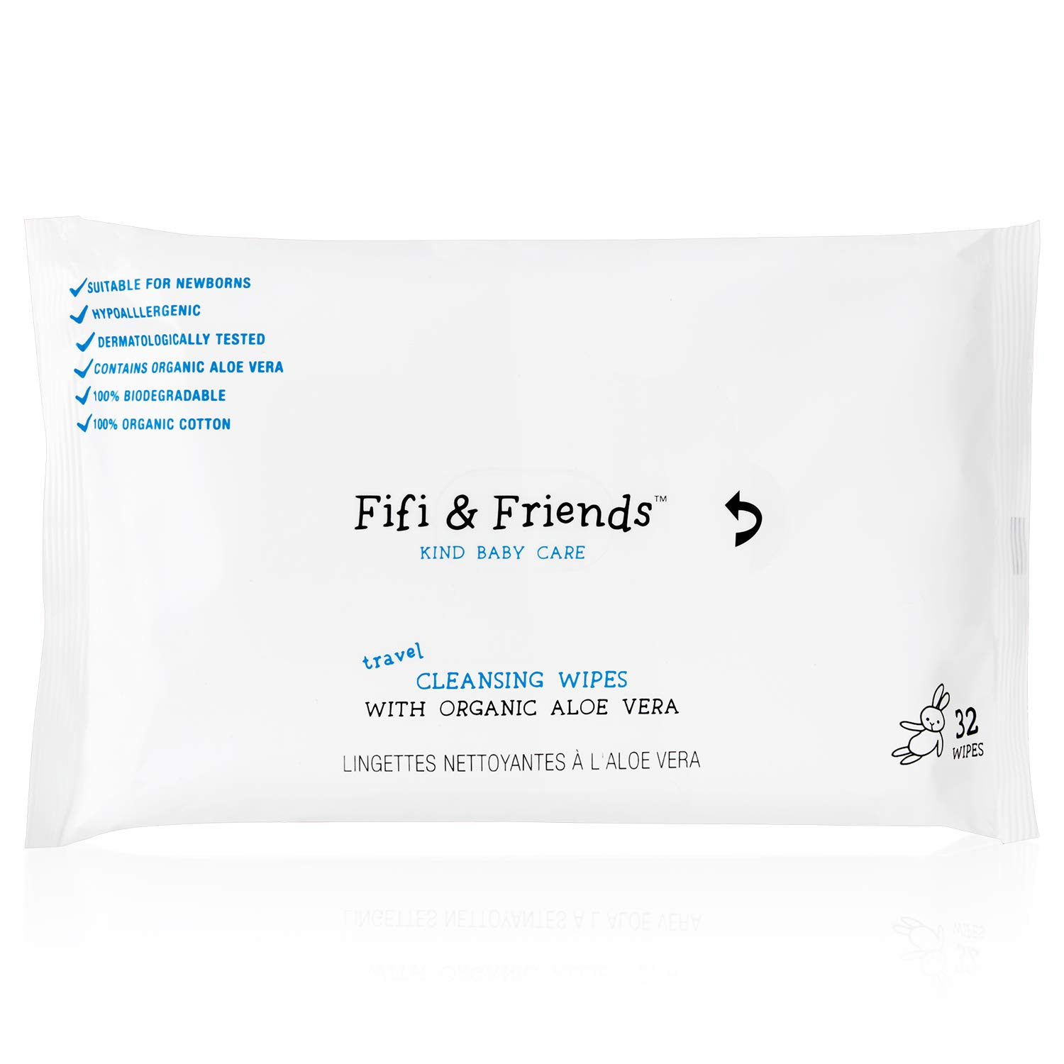 Fifi /& Friends 100/% Organic Cotton Cleansing Baby Travel Wipes 32 Wipes per Pack 100/% Biodegradable