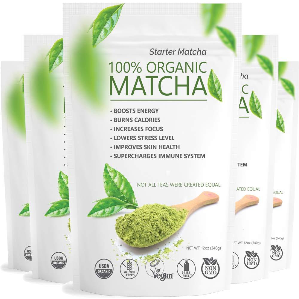 Starter Matcha Set of 5 (5x12oz) USDA Organic Matcha Bulk | Natural Matcha Green Tea Powder | Matcha Tea Weight Loss | Sugar Free Matcha Green Tea Powder by Matchaccino