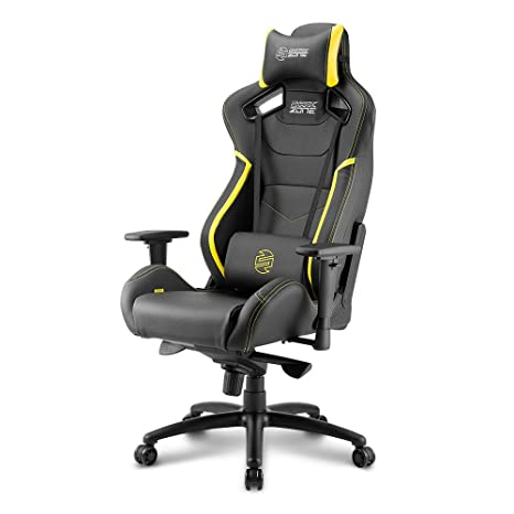 Sharkoon SHARK ZONE GS10 – Silla Gaming, Cuero Sintético, Acero, Negro/Amarillo