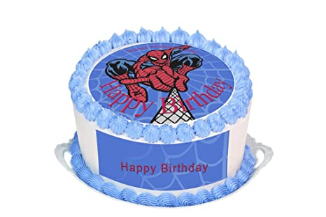 Spiderman PERSONALISED EDIBLE Icing Cake Wrapper Toppers Round