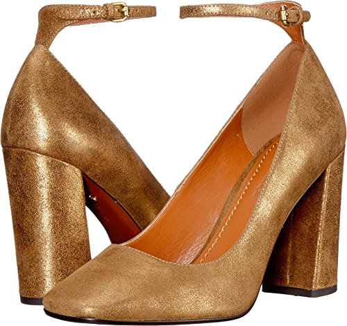 Coach Women's Suede 95mm Ankle Strap Pump Gold Suede 8.5 B US