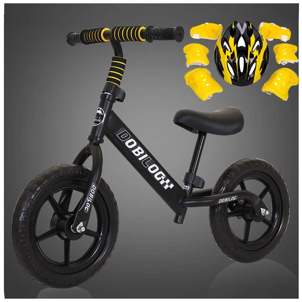 CHRISTMAD Laufrad Ohne Pedal   Helm Und Schutzausrüstung   Verstellbarer Lenker Und Sitzhöhe   Pneumatikrad Eva-Rad   Kindergeschenk 80-120cm,schwarz-B
