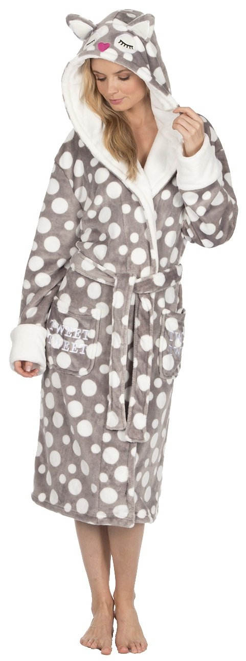 KATE MORGAN Ladies Soft & Cosy Hooded Dressing Gown