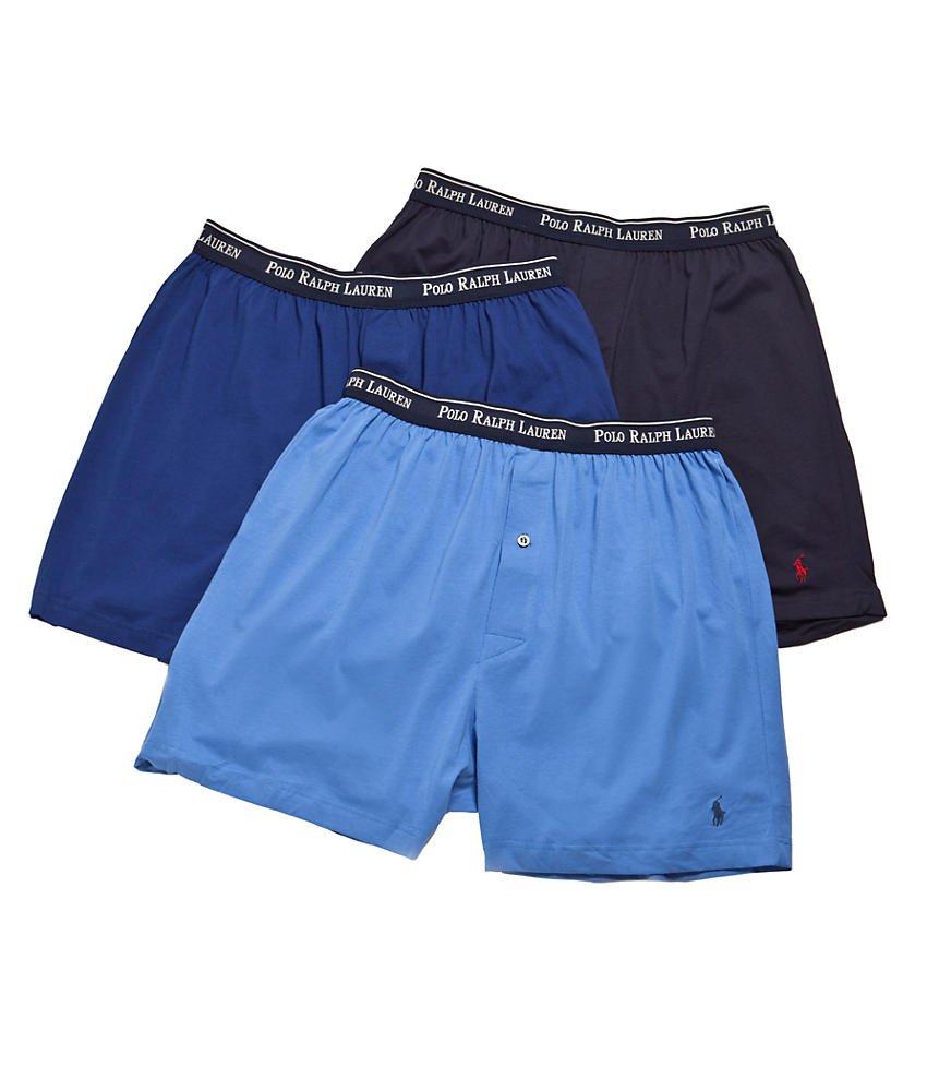 Polo Ralph Lauren Classic Cotton Knit Boxer 3-Pack, M, Assorted Blue