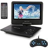 ポータブルDVDプレーヤー 9.5型 DBPOWER ゲーム機能搭載 270度回転 リージョンフリー CPRM対応 TVと同期可能 SD/MS/MMCカード/USBに対応 24月保証 日本語説明書付属 ブラック