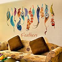 Creative Home Sofa Background Decoration wall sticker Colorful Feather Wall Mural