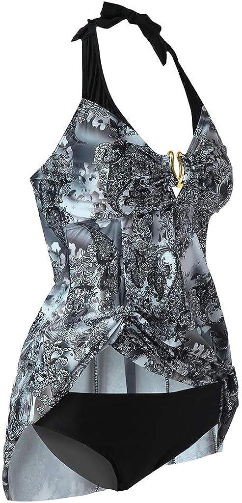 MIARHB Womens Halter Swimsuit Print Two Piece Tankini with Briefs Swim Dress Plus Size