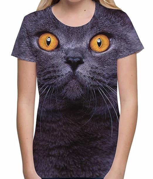 Camisetas Totalmente Impresas por sublimación para Mujer con Gato Tops de Verano con Dibujos para Mujer: Amazon.es: Ropa y accesorios