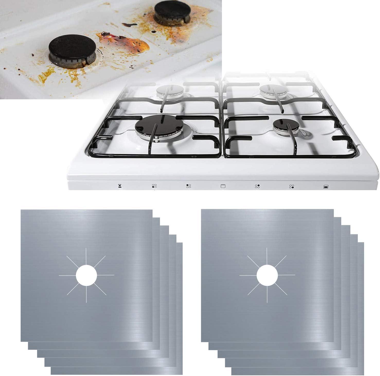 10 fundas para quemador de gas de 0,2 mm de grosor doble reutilizable para cocina – 27 x 27 cm, aprobado por la FDA, apto para lavavajillas (plateado)