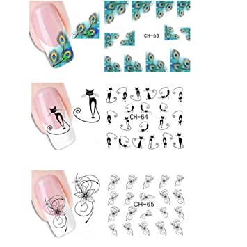 Lameida 4 Pieces Nail Sticker For Girls Women Nails Art Lovely