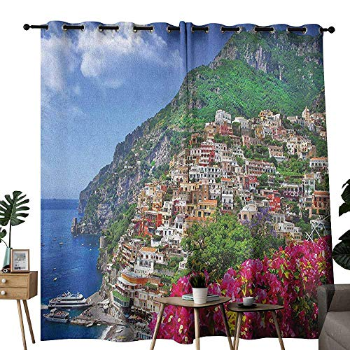 duommhome Italy Sliding Curtains Scenic View of Positano Amalfi Naples Blooming Flowers Coastal Village Image Privacy Protection W120 x L96 Pink Green Blue