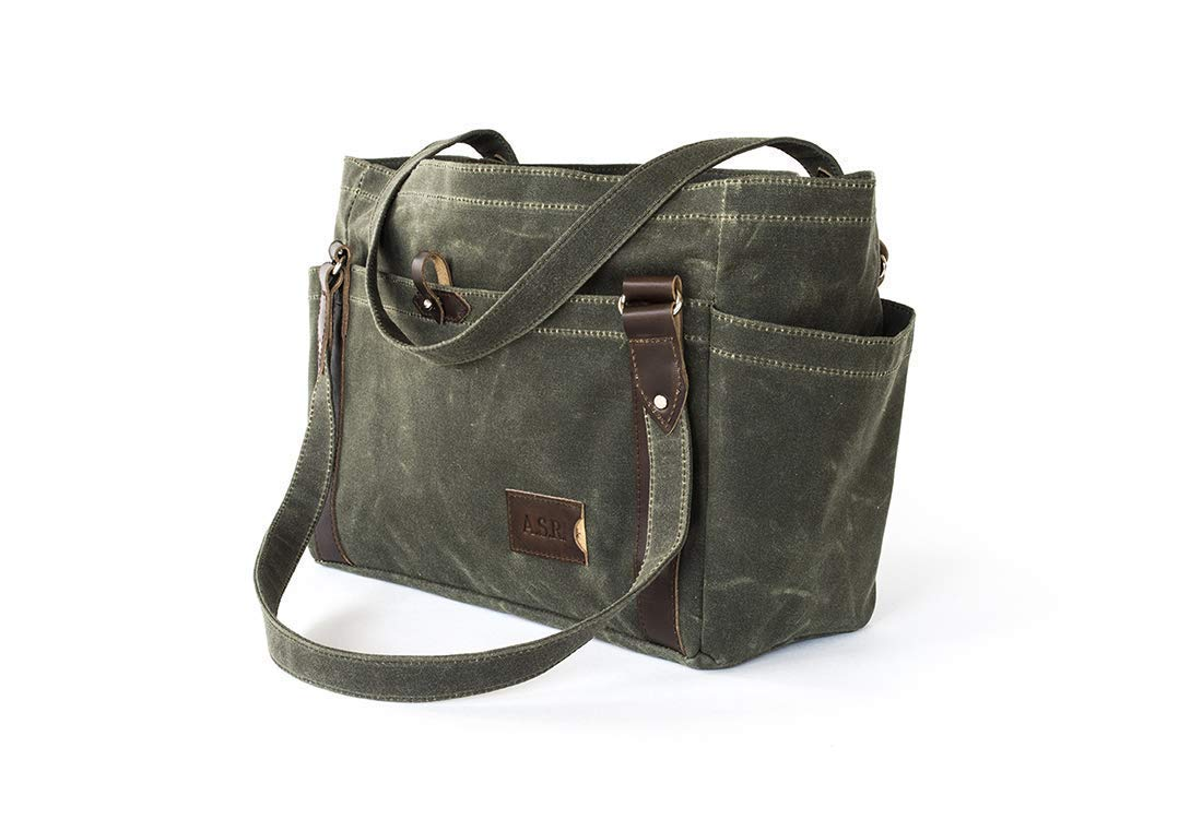 ad9e0b1b1 Amazon.com: Waxed Canvas Tote Bag with Pockets: Personalized Large Shoulder  Handbag, Olive Green - No. 521 (Made in the USA): Handmade