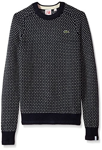 Lacoste Men's Jacquard Mini Pattern Jersey Crewneck Sweater, Navy Blue/Cliff X-Large
