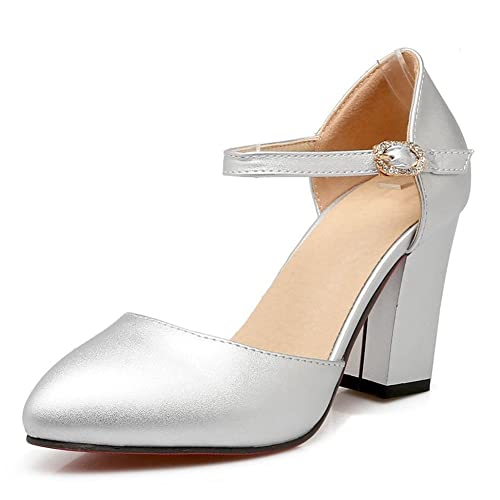 2dac4e05d8e1 SaraIris Women s Pointed Toe Chunky High Heel Ankle Strap Fall Pumps Silver