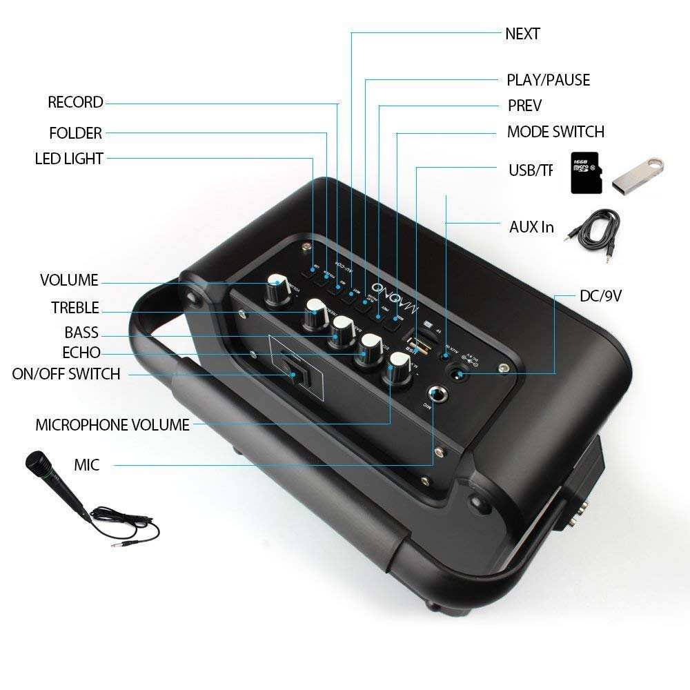 30W MAONO Wireless PA system with Two Wireless Handheld Microphones Karaoke Machine, FM Radio/AUX-IN Mode/USB Input/TF Card/Remote Control/LED Bar for Adults Kids (Black) by MAONO (Image #6)