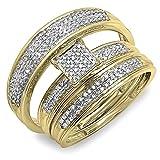 0.50 Carat (ctw) 14K Yellow Gold Round Diamond Men's & Women's Engagement Ring Trio Set 1/2 CT