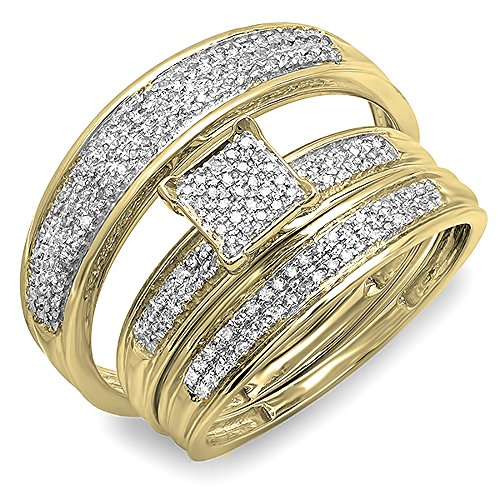 (Dazzlingrock Collection 0.50 Carat (ctw) 14K Round Diamond Men's & Women's Engagement Ring Trio Set 1/2 CT, Yellow Gold)