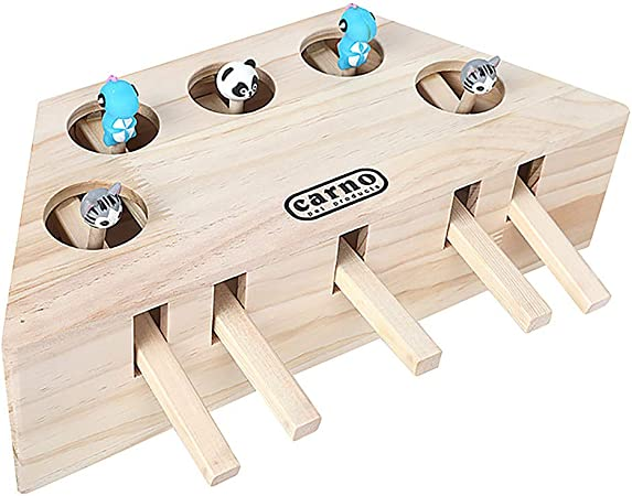 Fovolat Wooden Mouse Catching Game Cat Hunt Mouse Desktop Game,Creative Children Interactive Toys,Exercise Reaction,Indoor Toys Gifts for Kids