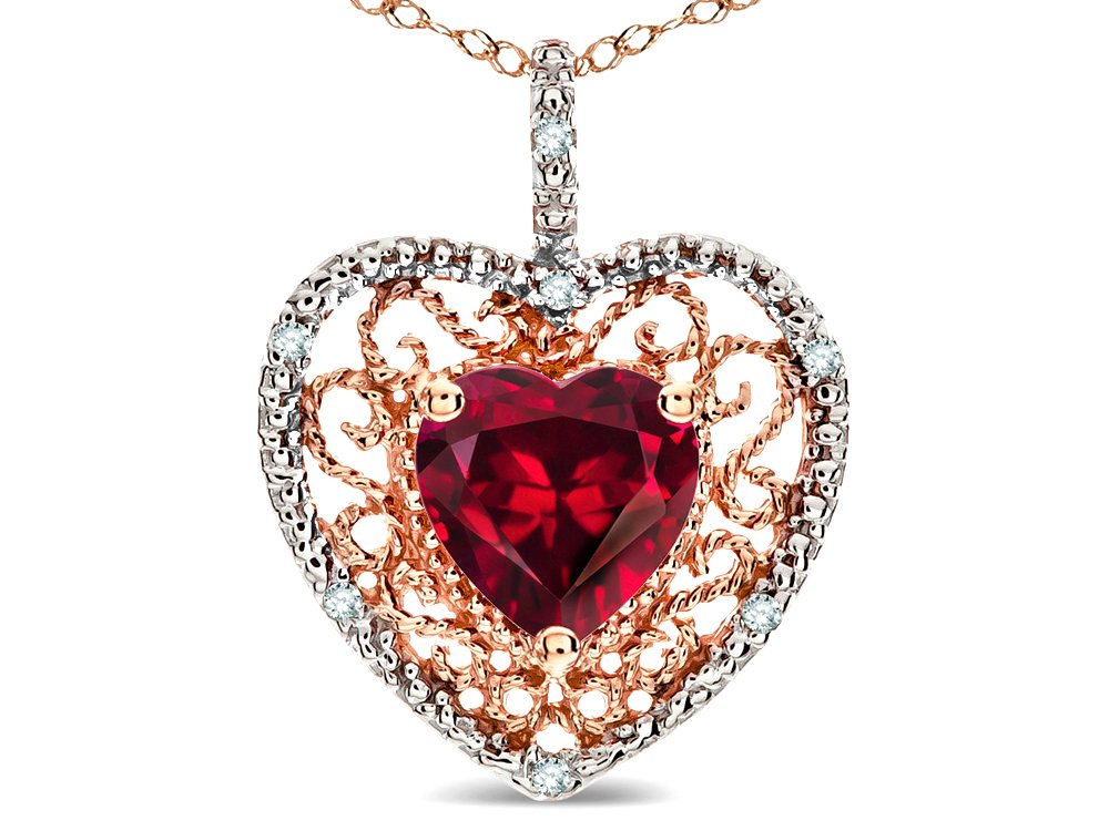 Star K Heart Shape 8mm Created Ruby filigree Heart Pendant Necklace 14k Rose Gold