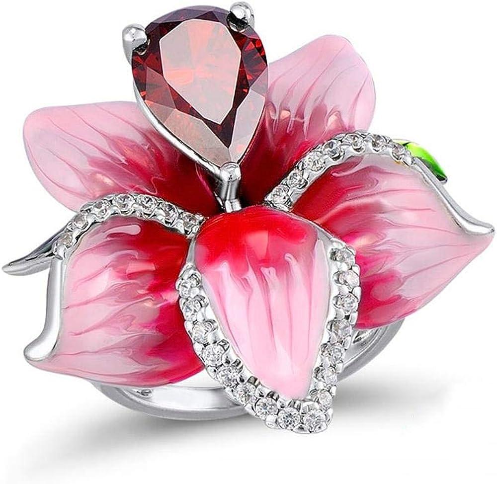 RQZQ Anillo Flor Roja Bling Circón Anillos de la Planta de Piedra para Mujeres Joyería de Fiesta de Moda de Compromiso de Boda Lindo