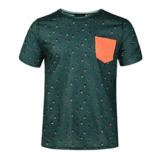 9a399cf3 Amazon.com: iYYVV Men's Summer Pocket T-Shirt Casual Cactus Printed Patch  Sleeve Top: Clothing