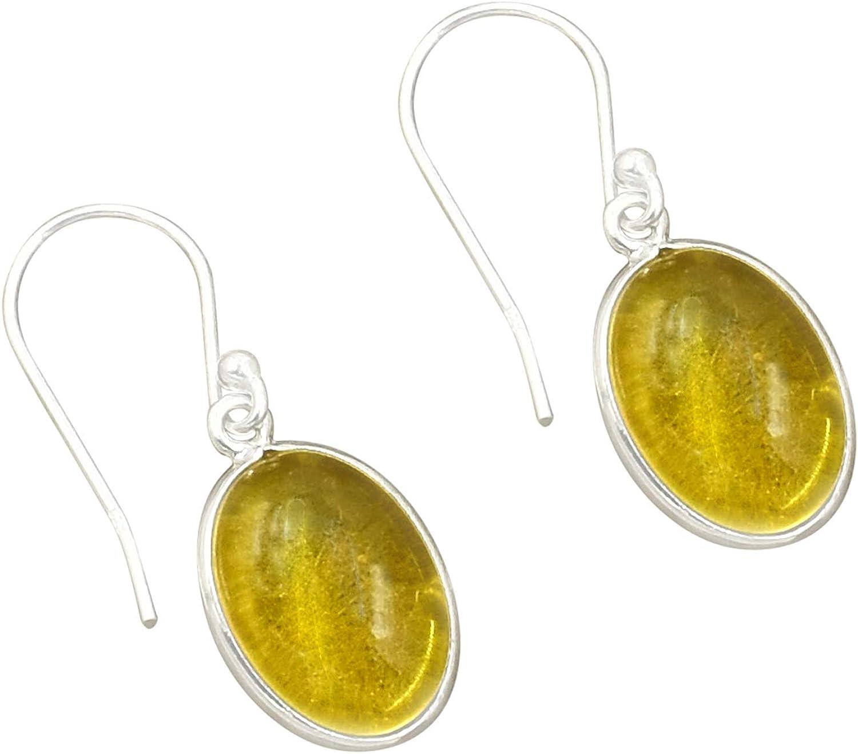 Silvesto India - Pendiente de cuarzo citrino natural ovalado, plata de ley 925