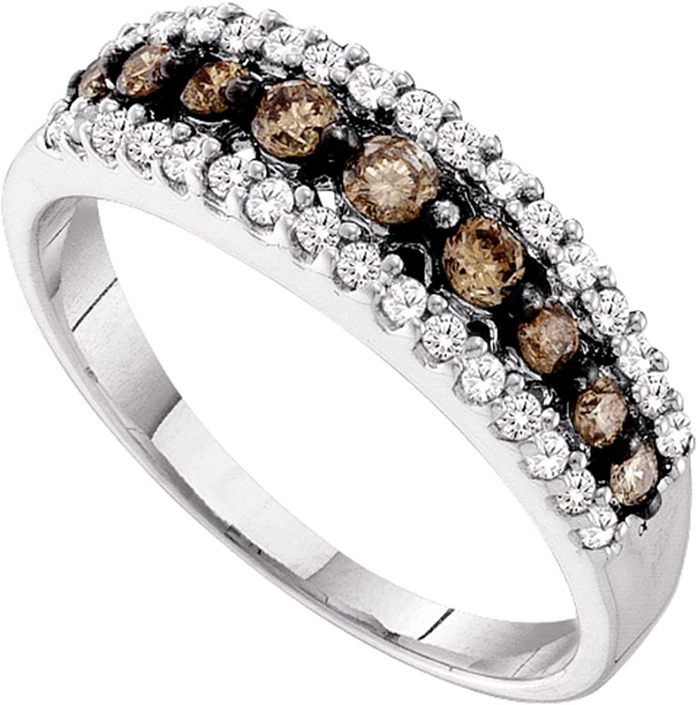 i2//i3, i//j 10kt White Gold and Diamond Ring Band Style Cognac-brown Colored Triple Row Ring 1//2 Cttw