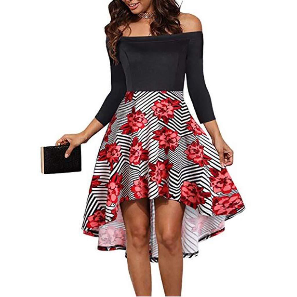Keliay Bargain Women Fashion Slash Neck Flower Print Short Dress Knee-Length Dress Gray by Keliay