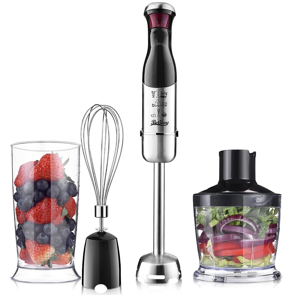 Betitay Immersion Hand Blender, 4-in-1 Food Blender and Processor With Stepless Speed Regulation,Handheld Immersion Mixers Set Includes 600ML Beaker,Chopper&Whisk,Make Smoothies & Baby Food