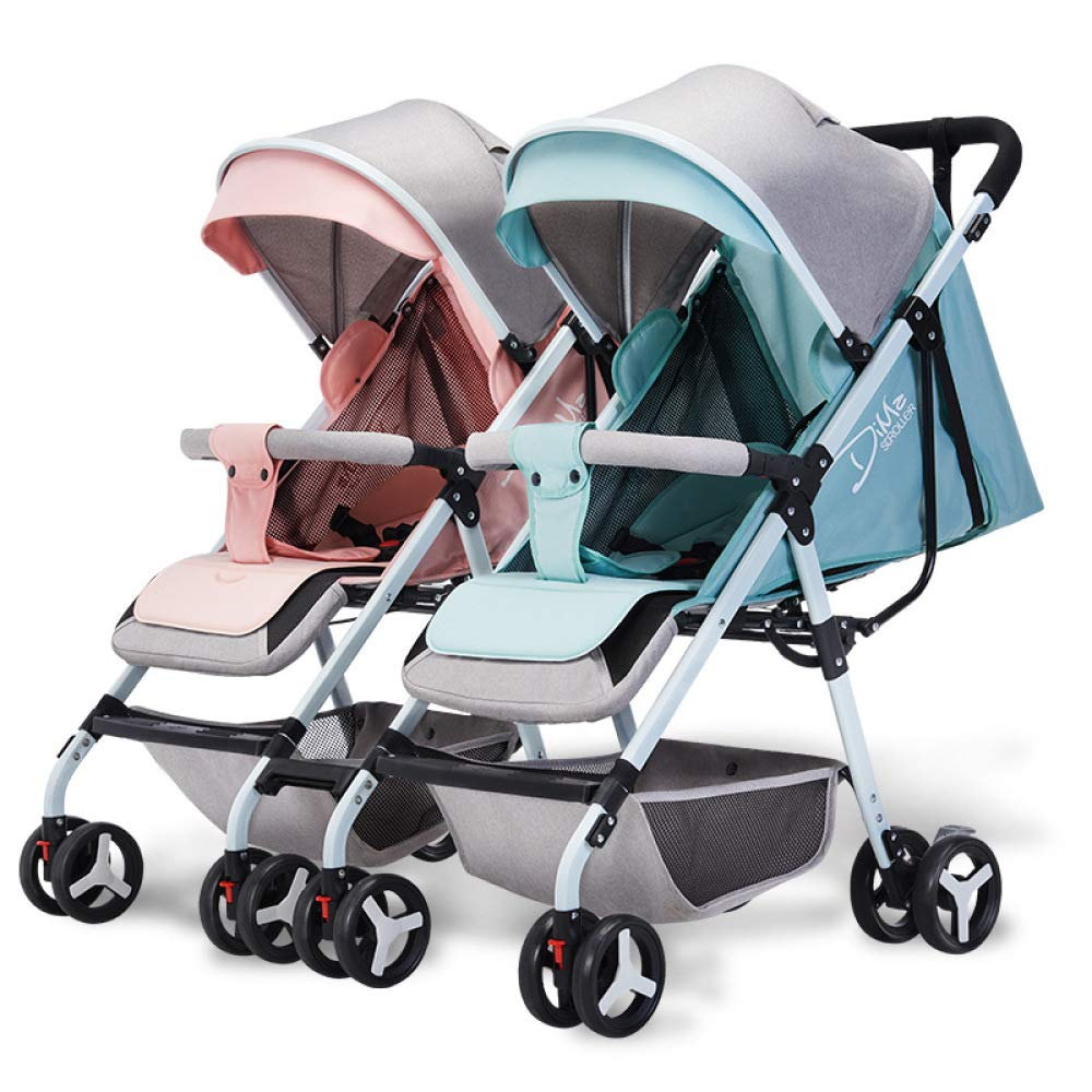 BO LU Double Strollers Double Seats for Twins Foldable Can Sit and Lie with Awning Adjustable Backrest by BO LU (Image #3)